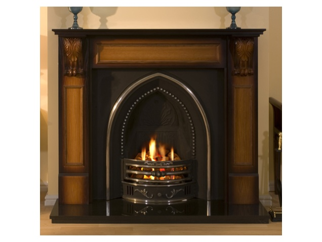Cheltenham Gothic Cast Iron Fireplace + electric tray fire ...