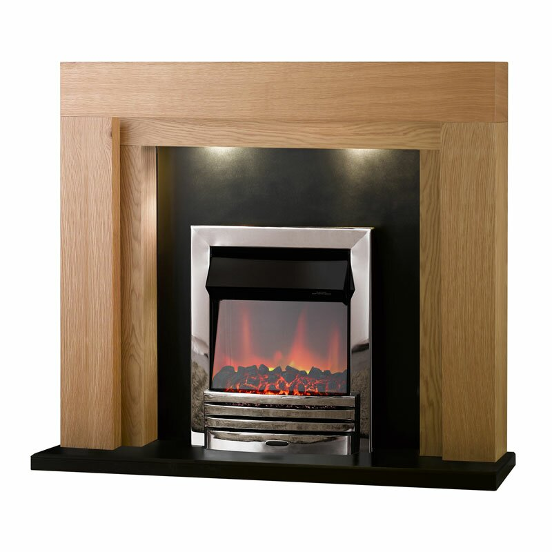 Adam Montana Fireplace Suite In Oak With Eclipse Electric Fire In Chrome 48 Inch Fireplace World