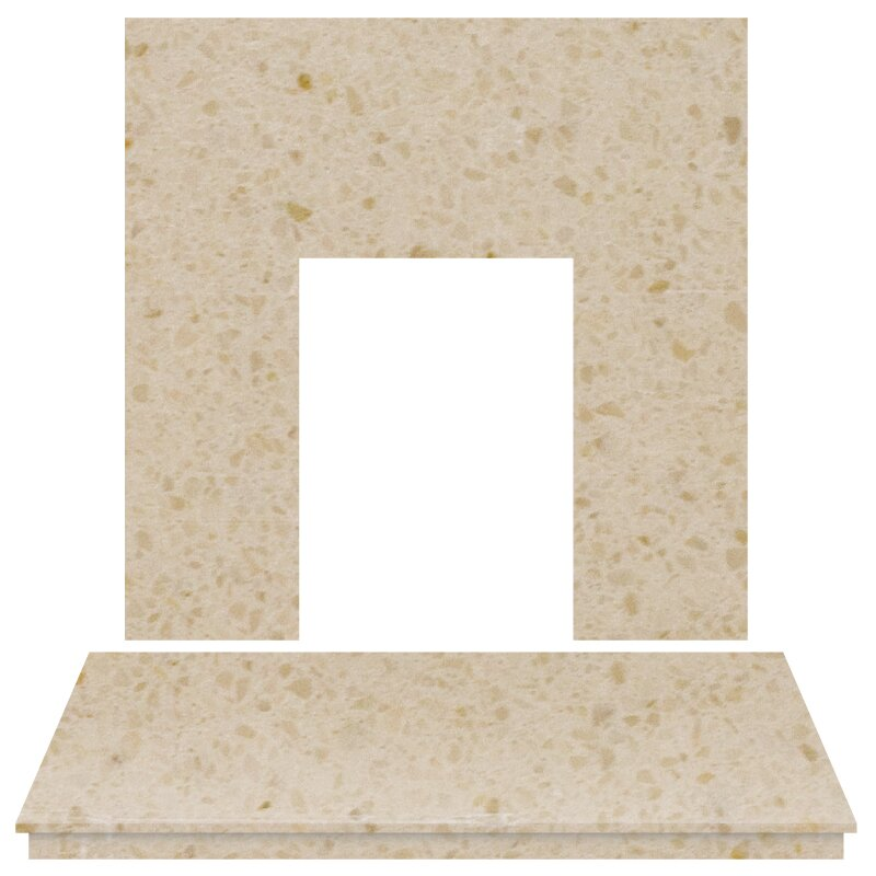 Fireplace Back Panel And Hearth Set In Marfil Stone 48
