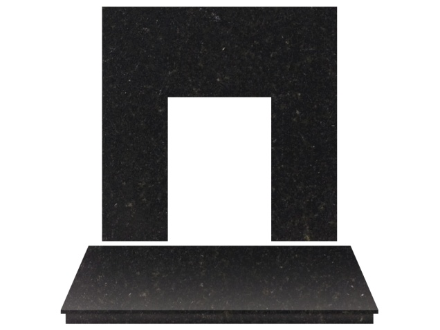 fireplace back panel and hearth set in black granite 54. Black Bedroom Furniture Sets. Home Design Ideas
