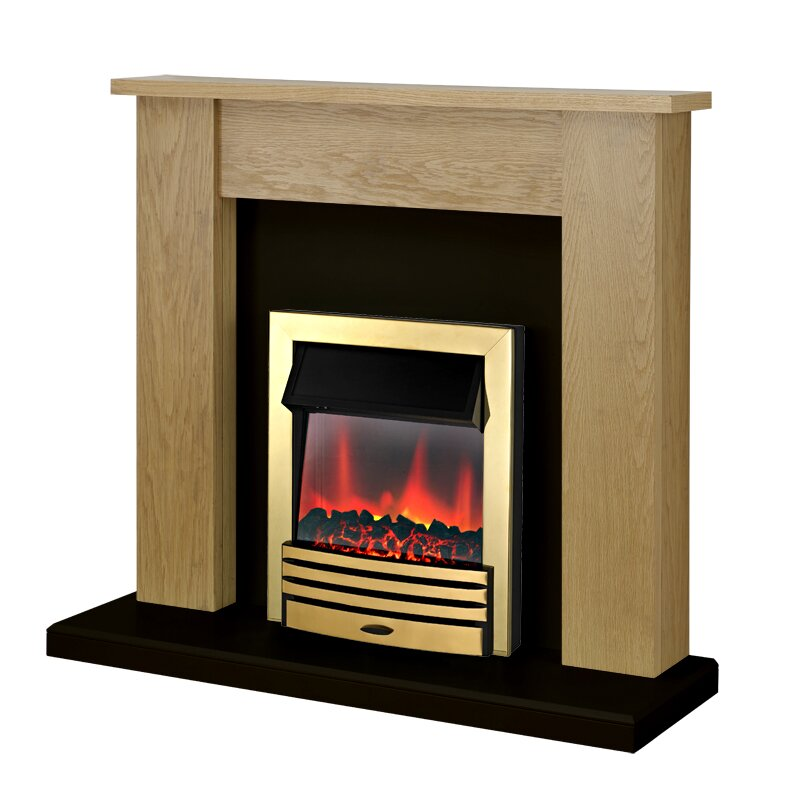 Adam New England Fireplace Suite In Oak With Eclipse Electric Fire In Brass 48 Inch Fireplace