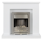 Adam Lomond Fireplace Suite in Pure White with Helios Electric Fire in Brushed Steel, 39 Inch