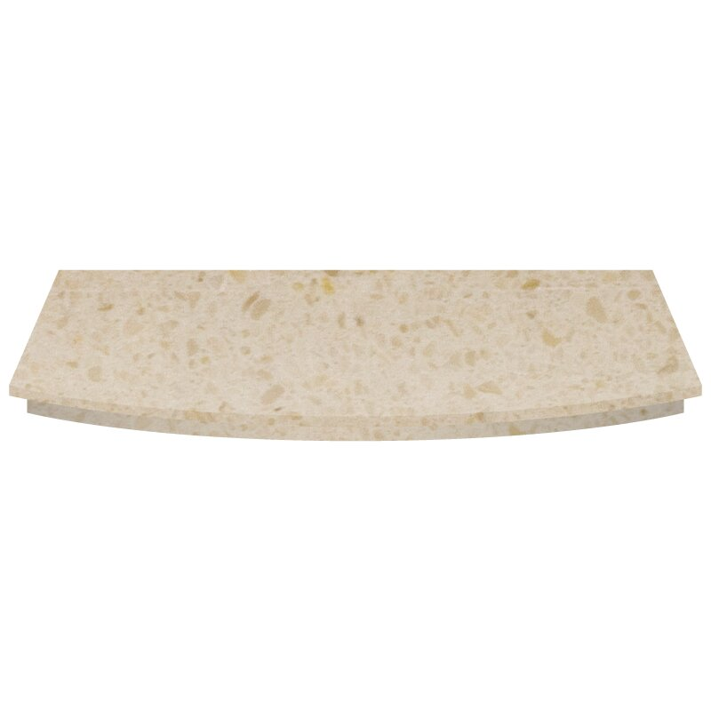 Curved Fireplace Hearth In Marfil Stone 54 Inch