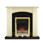 Holden Electric Fireplace Suite with Adam Ribbon Brass Electric Fire
