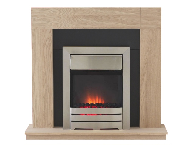 Adam Malmo Oak Fireplace Suite with Colorado Steel Electric Fire, 39 Inch