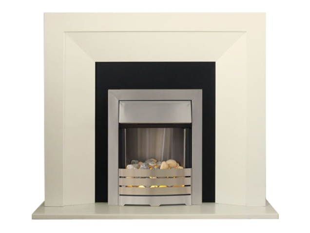 Adam Genoa Fireplace Suite In Cream And Black With Helios