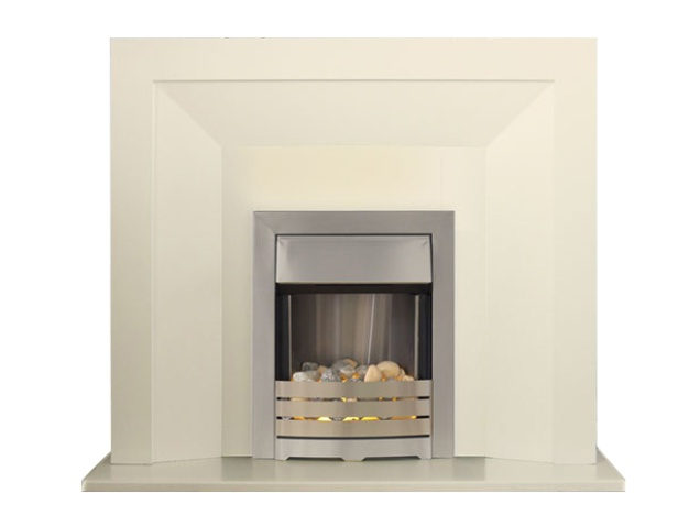 Adam Genoa Fireplace Suite in Cream with Helios Electric Fire in Brushed Steel, 48 Inch