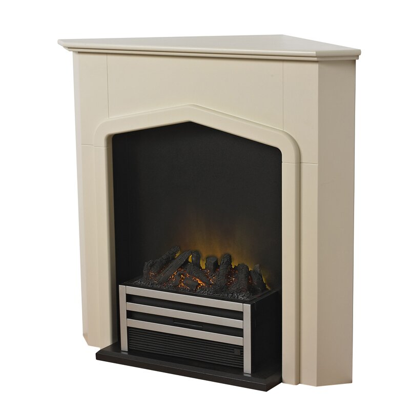adam cheshire stone effect corner fireplace suite with