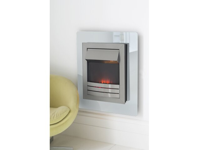 White Wall Mounted Fire: Adam Matisse White Glass Flame Effect Wall Mounted