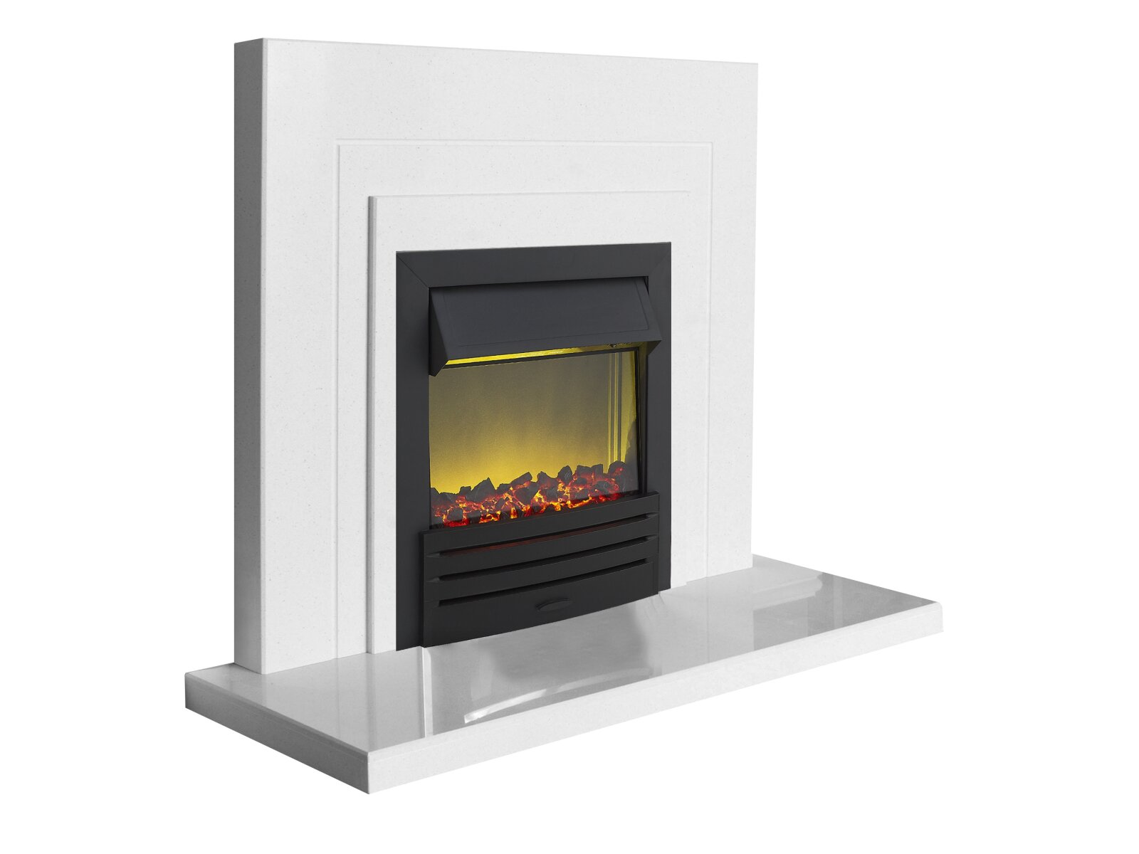 The Belair Fire Surround Set In Sparkly White Marble With Eclipse Electric Fire In Black 44