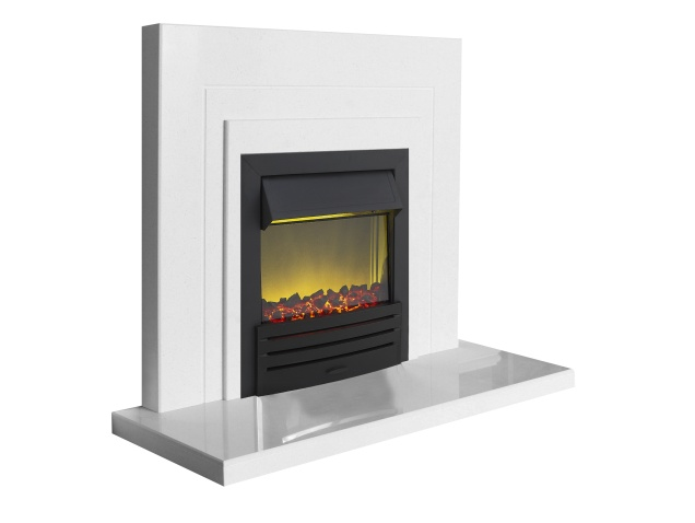 The Belair Fire Surround Set In Sparkly White Marble With