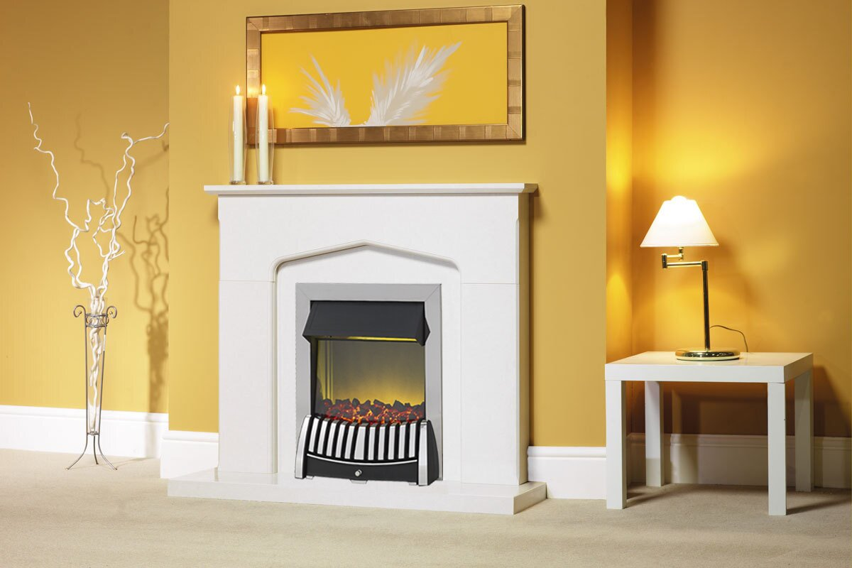 The Camelot Fireplace In Roman Stone With Elan Electric Wright ...