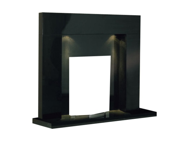 The Cuba Fireplace in Black Granite with Downlights, 48 Inch