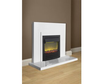 Belair Fire Surround Set In Sparkly White Marble With
