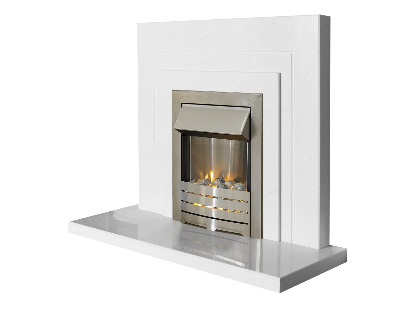 The belair fireplace in sparkly white 44 inch fireplace for White marble fire surround