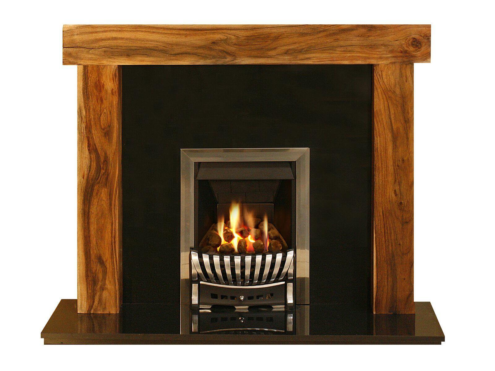 adam fenchurch fire surround set in acacia and black. Black Bedroom Furniture Sets. Home Design Ideas