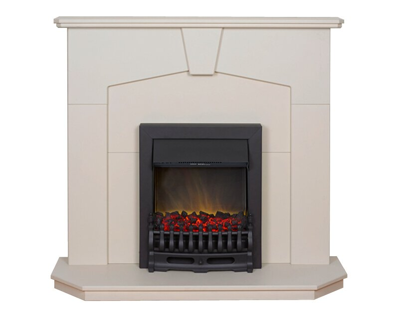 Adam Abbey Fireplace Suite In Stone Effect With Blenheim Electric Fire In Black 48 Inch