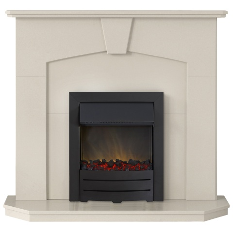 Image of Adam Abbey Fireplace Suite in Stone Effect with Colorado Electric Fire in Black, 48 Inch