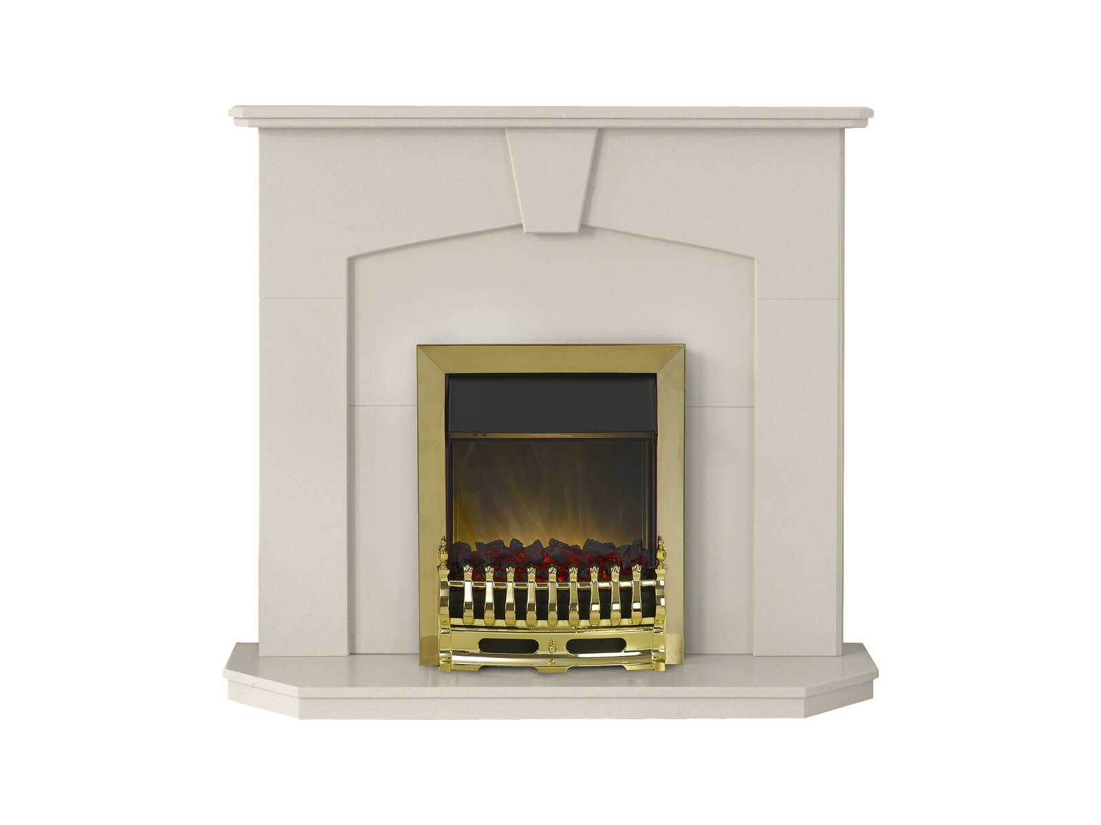 Adam Abbey Fireplace Suite In Stone Effect With Blenheim Electric Fire In Brass 48 Inch