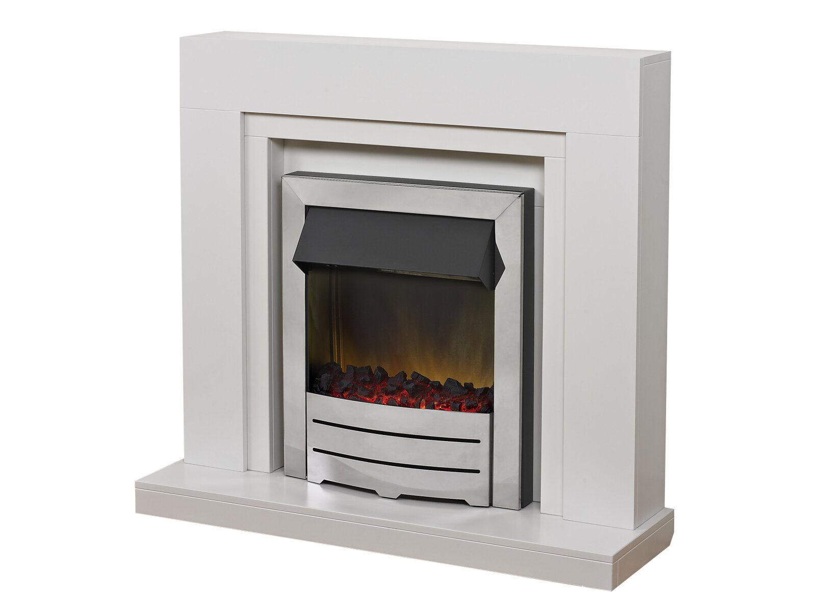Adam Madison Fireplace Suite In White With Colorado Chrome Electric Fire 39 Inch Fireplace World