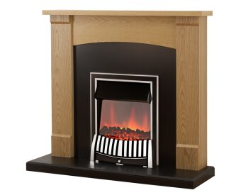 adam lonsdale fireplace suite in oak with elan electric fire in chrome 48 inch fireplace world. Black Bedroom Furniture Sets. Home Design Ideas