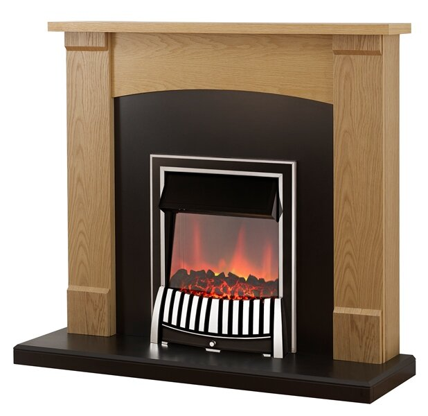 Adam Lonsdale Fireplace Suite In Oak With Elan Electric Fire In Chrome 48 Inch Fireplace World