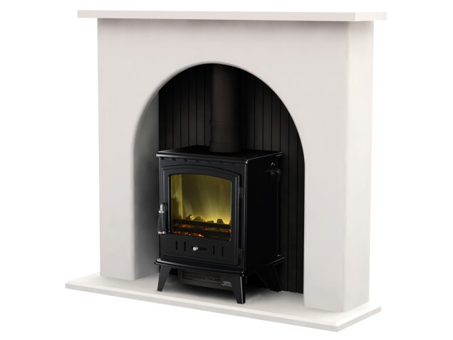 adam kirkham fireplace suite in white with aviemore electric stove 48 inch fireplace world. Black Bedroom Furniture Sets. Home Design Ideas