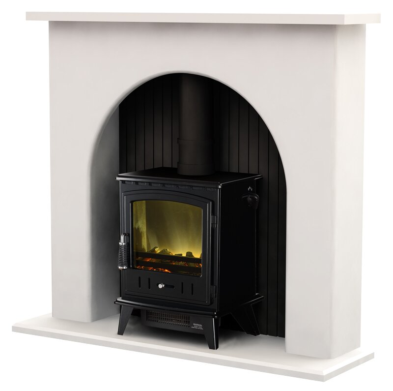 Adam Kirkham Fireplace Suite in White with Aviemore