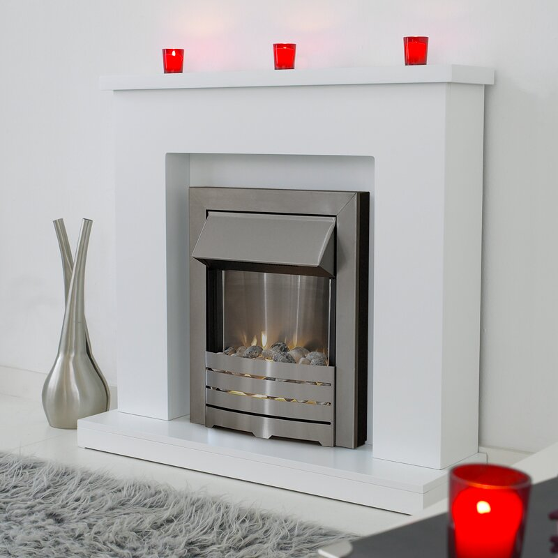 Adam Lomond Fireplace Suite In Pure White With Helios Electric Fire In Brushed Steel 39 Inch