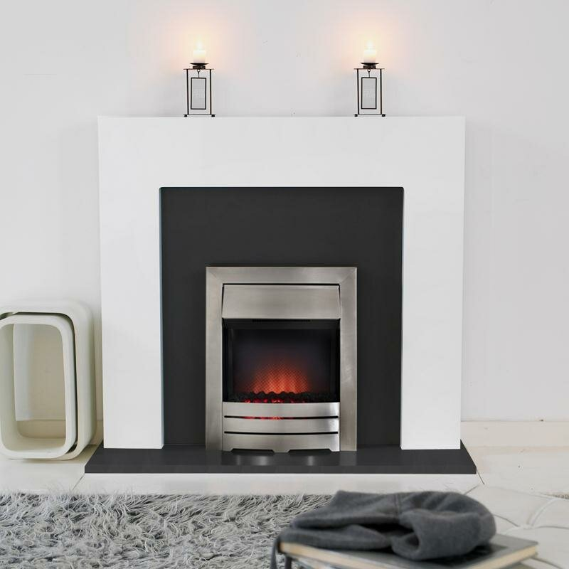 Miami White With Grey Back Panel Hearth And Arizona Fire