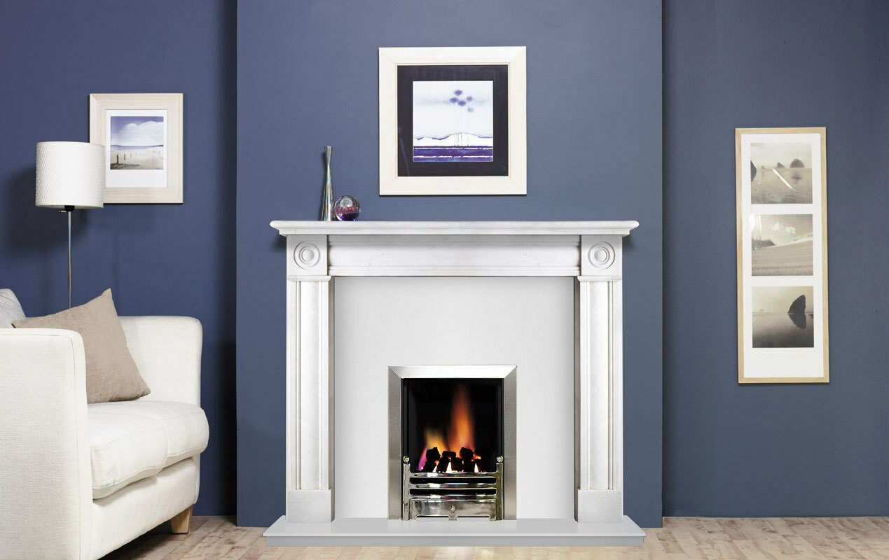 Regent Fireplace Surround Set In Natural White Marble 54
