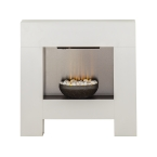 Adam Cubist Fireplace Suite in White with Electric Fire, 36 Inch