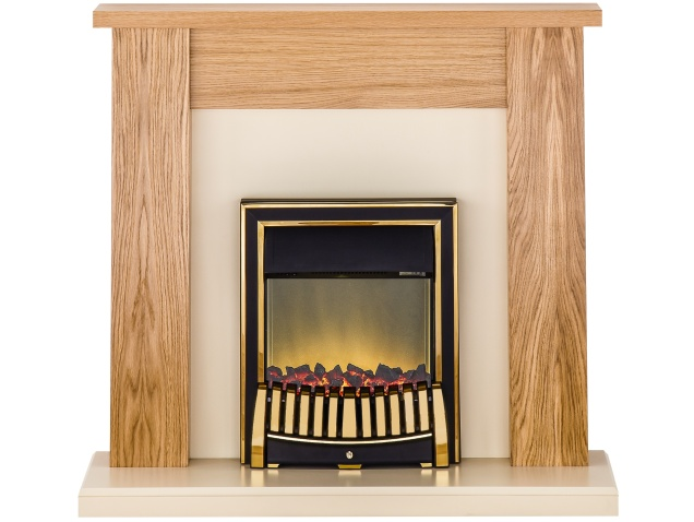 adam new england fireplace suite in oak with elan electric fire in brass 48 inch fireplace world. Black Bedroom Furniture Sets. Home Design Ideas