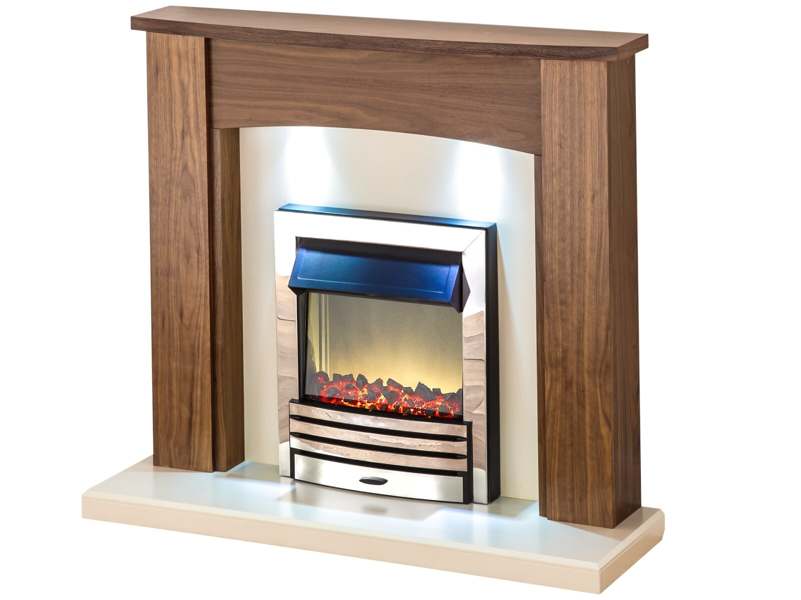adam stanford walnut fireplace suite with chrome electric fire with downlights 48 inch. Black Bedroom Furniture Sets. Home Design Ideas