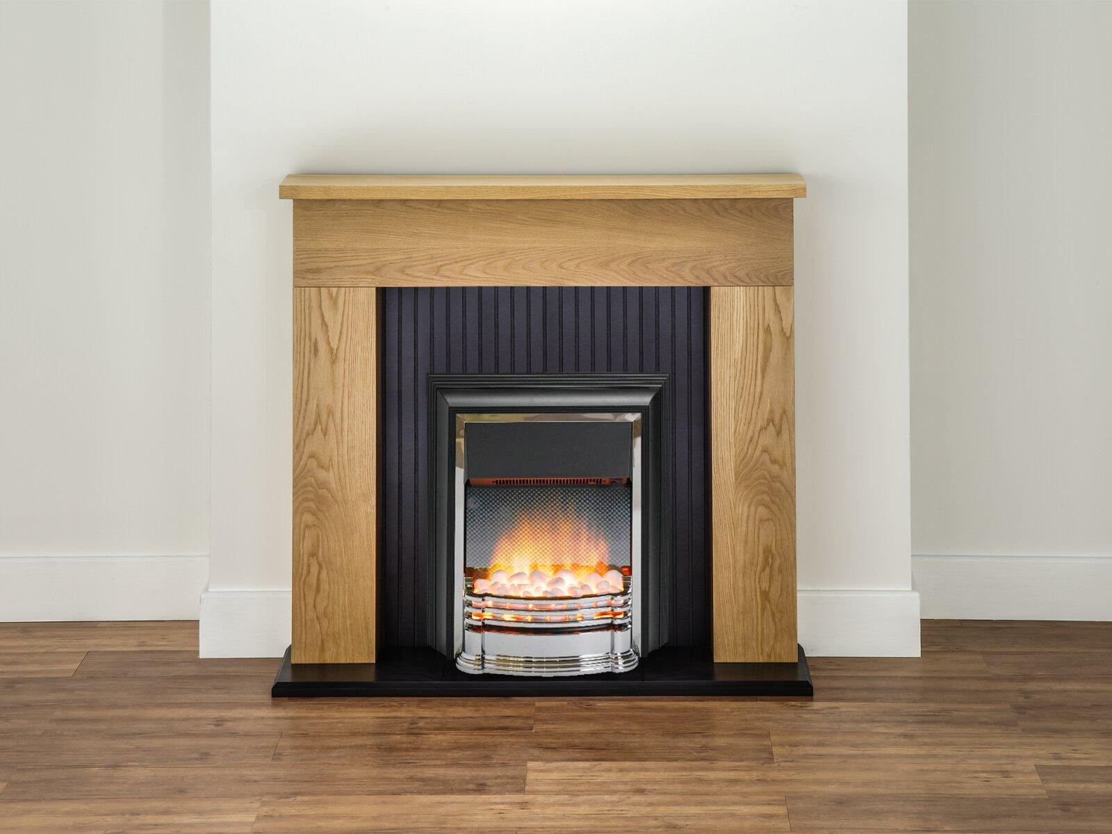 Adam Innsbruck Fireplace Suite In Oak With Dimplex Detroit Electric Fire In Chrome 48 Inch