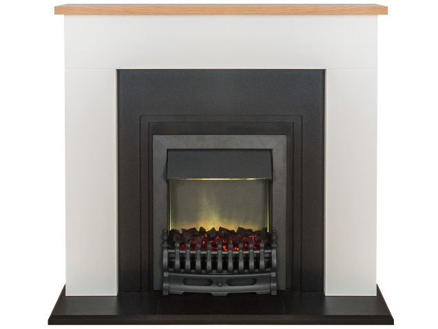 adam innsbruck fireplace suite in pure white with blenheim electric fire in black 48 inch. Black Bedroom Furniture Sets. Home Design Ideas
