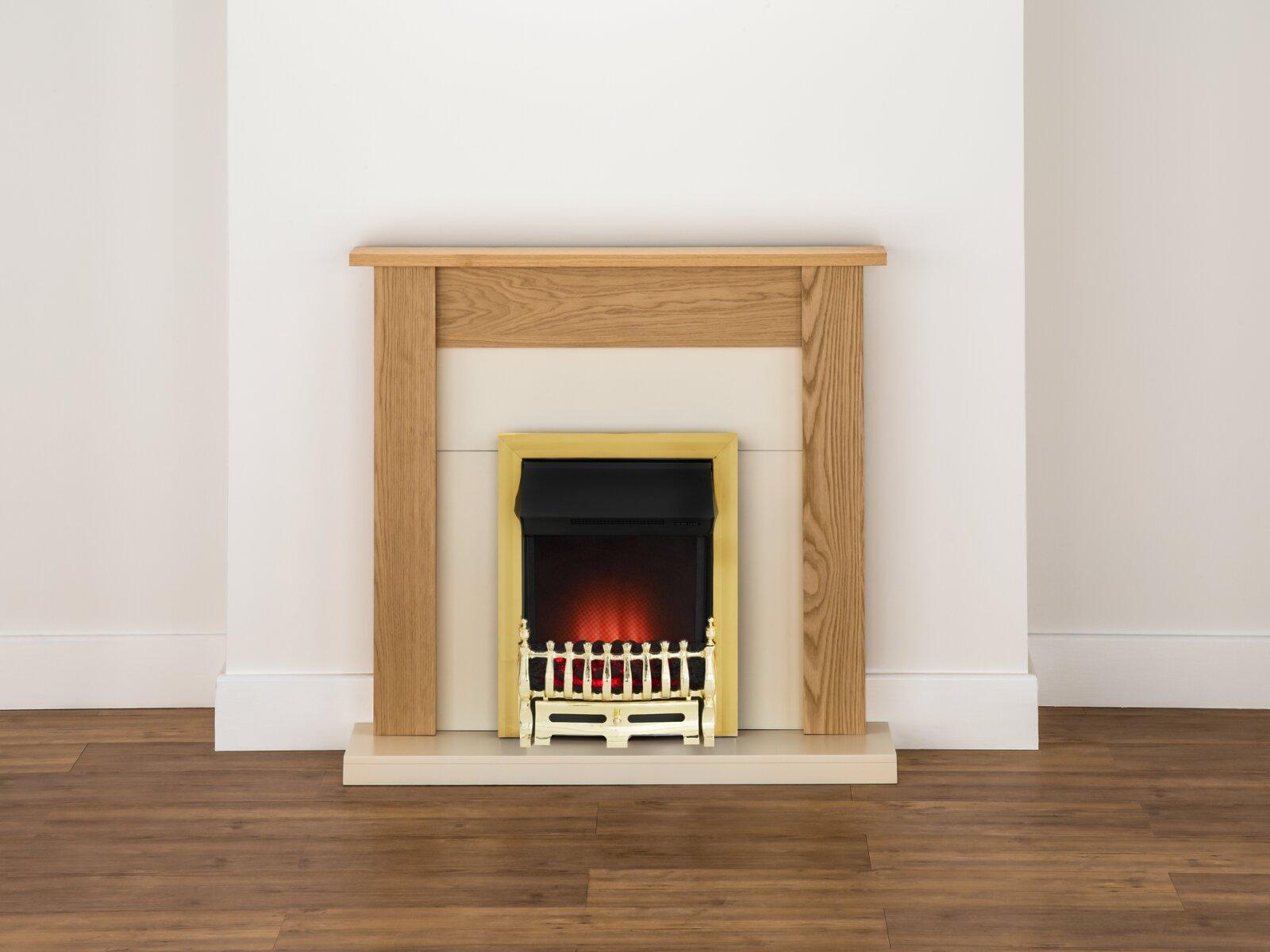 Adam Southwold Fireplace Suite In Oak With Ribbon Brass
