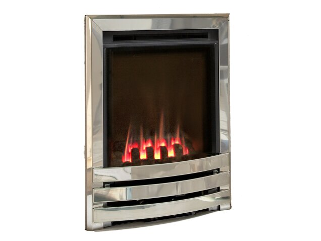Flavel Windsor Contemporary Gas Fire In Chrome Coal Bed