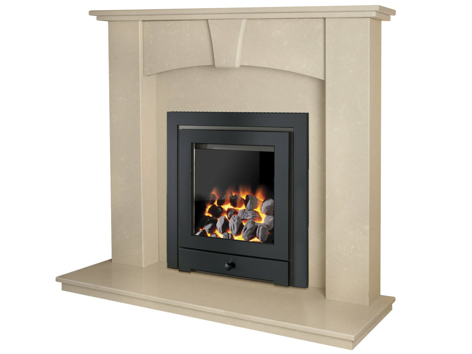 The Devon Fireplace In Roman Stone With Montana Royale Gas