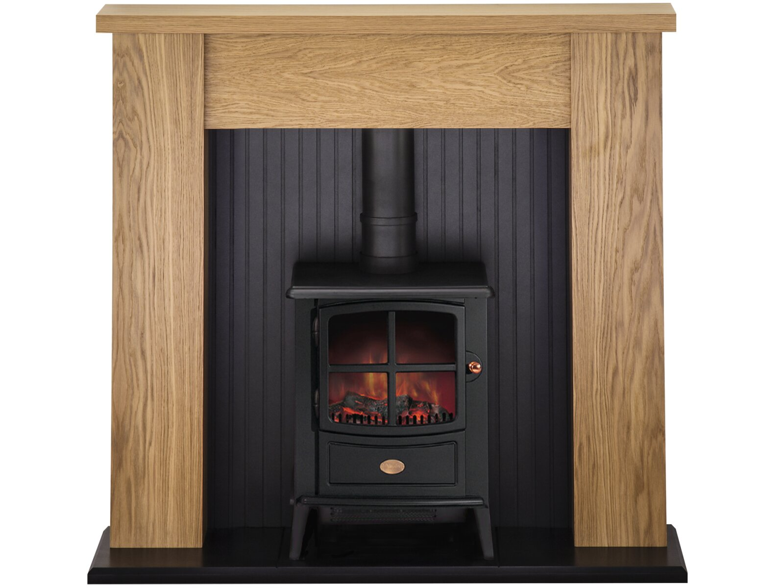 adam new england stove fireplace in oak with brayford electric stove in black 48 inch. Black Bedroom Furniture Sets. Home Design Ideas