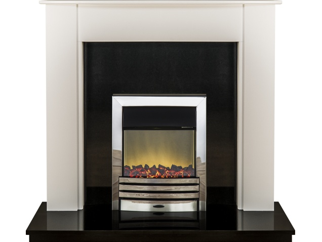adam capri fireplace in pure white and black granite with eclipse electric fire in chrome 48. Black Bedroom Furniture Sets. Home Design Ideas