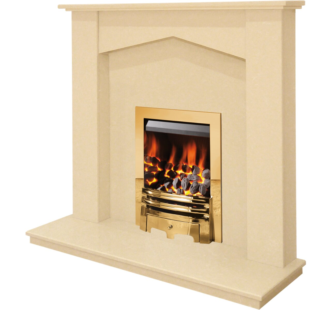 the georgia fireplace in beige stone with gem gas fire in brass 48