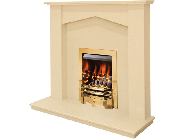 the georgia fireplace in beige stone with gem gas fire in brass 48 inch fireplace world. Black Bedroom Furniture Sets. Home Design Ideas