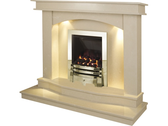 The Warwick Fireplace With Downlights in Roman Stone with Diamond ...