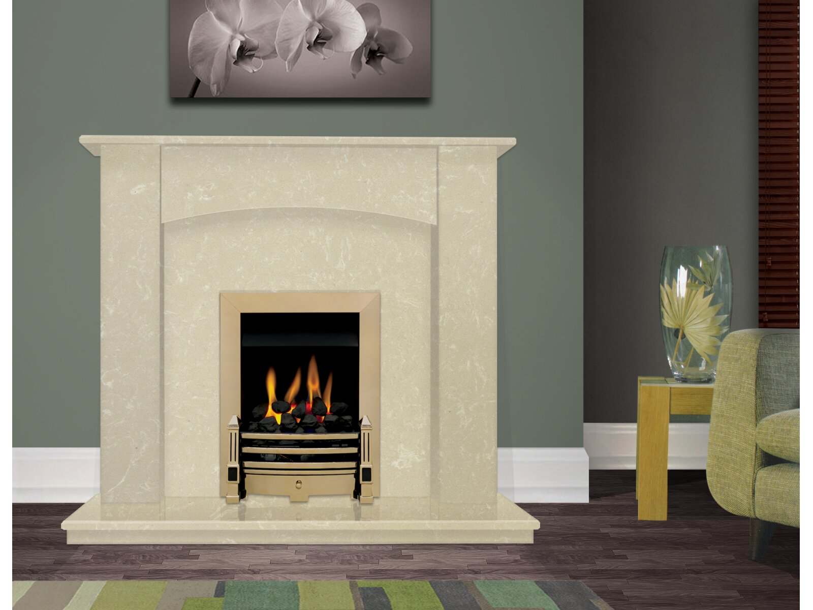 The Camber Fireplace In Roman Stone 48 Inch Fireplace World