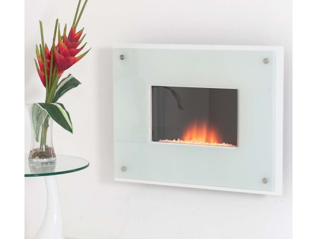 White Wall Mounted Fire: Adam Nexus Wall Mounted Electric Fire In White With Glass