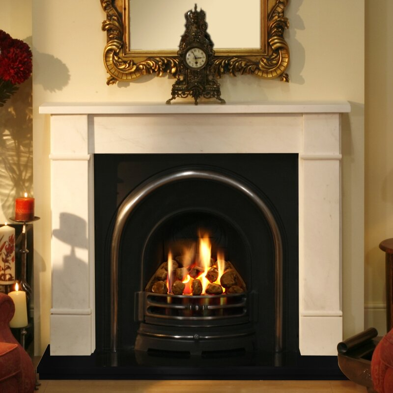 Stockholm Marble Fireplace With Black Granite And