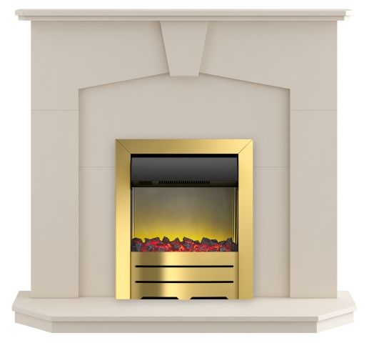 Image of Adam Abbey Fireplace Suite in Stone Effect with Colorado Electric Fire in Brass, 48 Inch