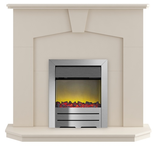 Image of Adam Abbey Fireplace Suite in Stone Effect with Colorado Electric Fire in Brushed Steel, 48 Inch