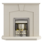 Adam Abbey Fireplace Suite in Stone Effect with Helios Electric Fire in Brushed Steel, 48 Inch